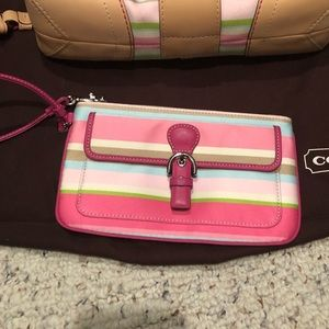 Coach Hampton Stripe wristlet